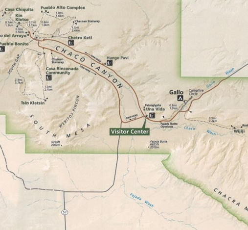 chaco hiking map